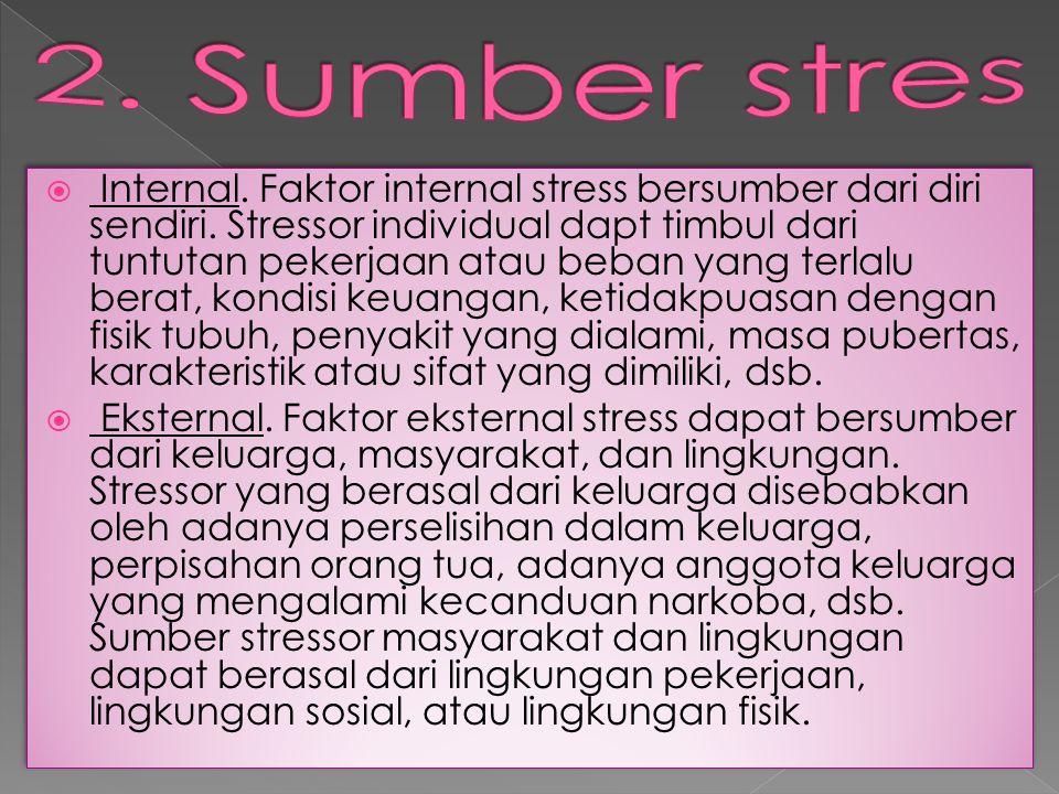  Internal. Faktor internal stress bersumber dari diri sendiri. Stressor individual dapt timbul dari tuntutan pekerjaan atau beban yang terlalu berat,