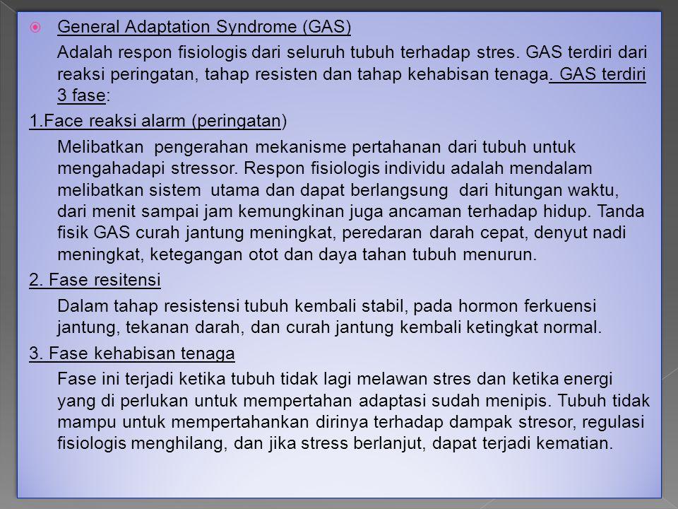  General Adaptation Syndrome (GAS) Adalah respon fisiologis dari seluruh tubuh terhadap stres. GAS terdiri dari reaksi peringatan, tahap resisten dan