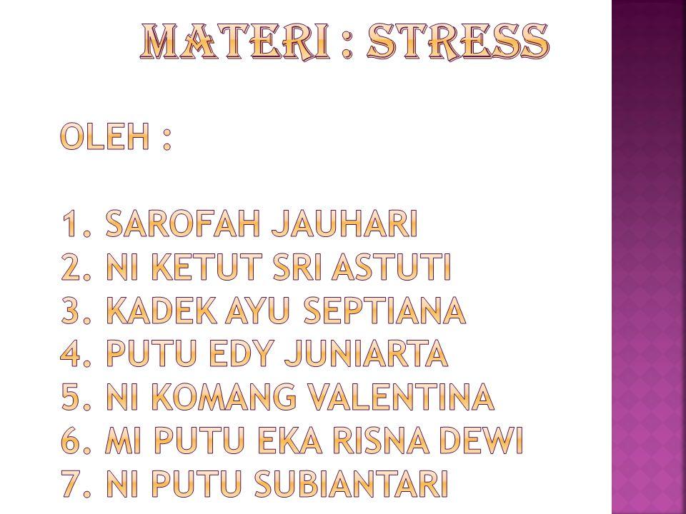  Pengertian Stress  Pengertian Stress Kerja  Faktor Penyebab Kerja Stres Kerja  Model Stress dalam Pekerjaan  Hubungan antara Motivasi, Kinerja dan Stress  Jurnal Relevan
