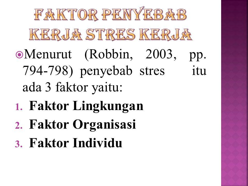 MMenurut (Robbin, 2003, pp. 794-798) penyebab stres itu ada 3 faktor yaitu: 1. Faktor Lingkungan 2. Faktor Organisasi 3. Faktor Individu