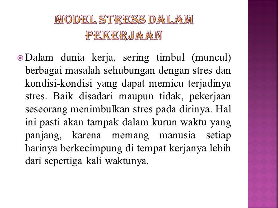  Dalam dunia kerja, sering timbul (muncul) berbagai masalah sehubungan dengan stres dan kondisi-kondisi yang dapat memicu terjadinya stres. Baik disa