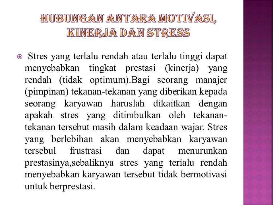  Stres yang terlalu rendah atau terlalu tinggi dapat menyebabkan tingkat prestasi (kinerja) yang rendah (tidak optimum).Bagi seorang manajer (pimpina