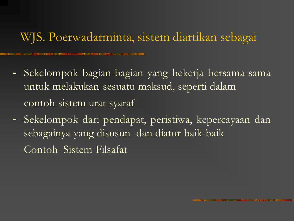 WJS. Poerwadarminta, sistem diartikan sebagai - Sekelompok bagian-bagian yang bekerja bersama-sama untuk melakukan sesuatu maksud, seperti dalam conto