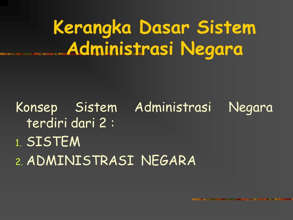 Kerangka Dasar Sistem Administrasi Negara Konsep Sistem Administrasi Negara terdiri dari 2 : 1. SISTEM 2. ADMINISTRASI NEGARA