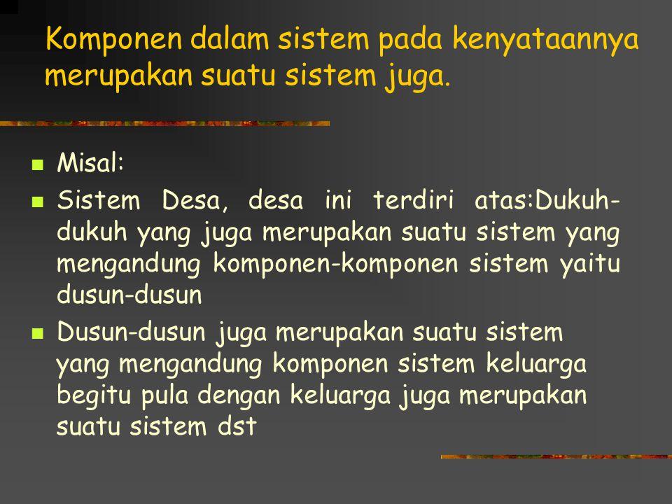 Komponen dalam sistem pada kenyataannya merupakan suatu sistem juga.