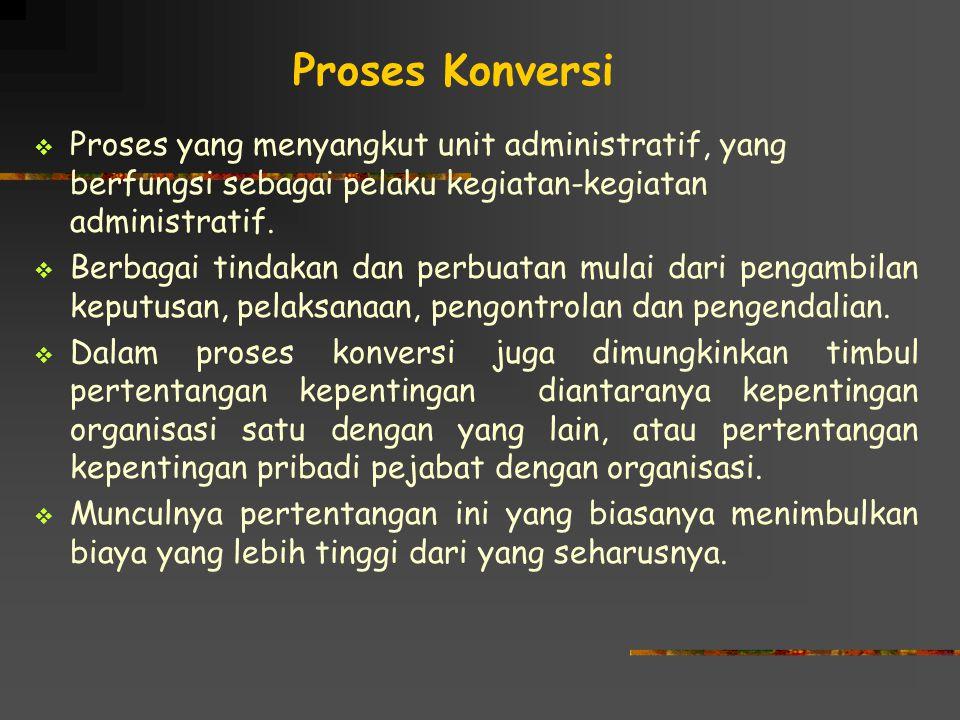 Proses Konversi  Proses yang menyangkut unit administratif, yang berfungsi sebagai pelaku kegiatan-kegiatan administratif.  Berbagai tindakan dan pe