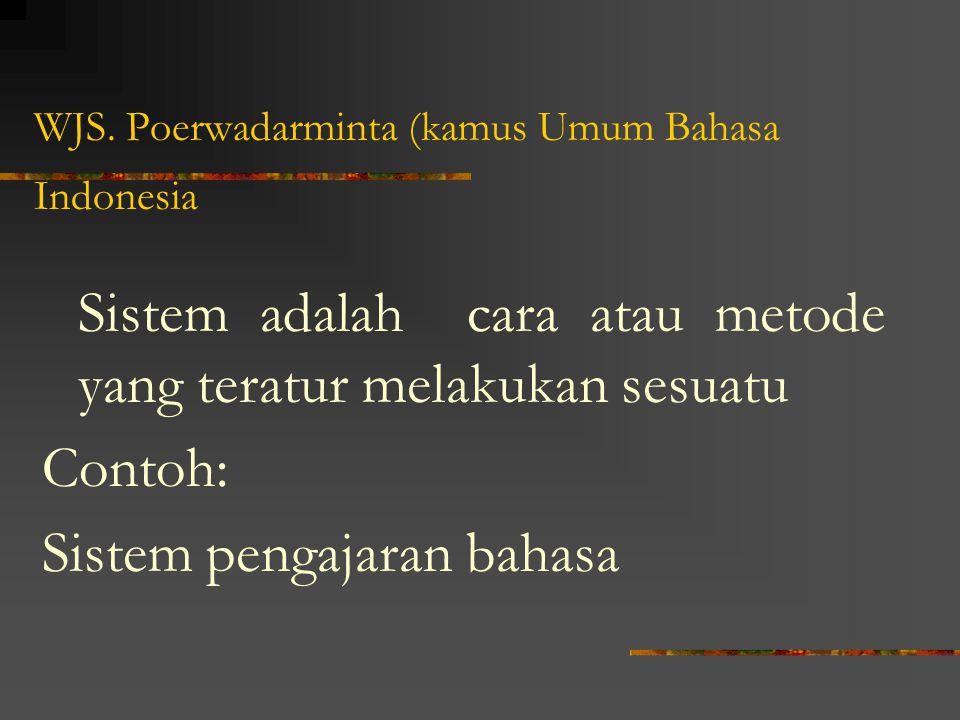 WJS. Poerwadarminta (kamus Umum Bahasa Indonesia Sistem adalah cara atau metode yang teratur melakukan sesuatu Contoh: Sistem pengajaran bahasa