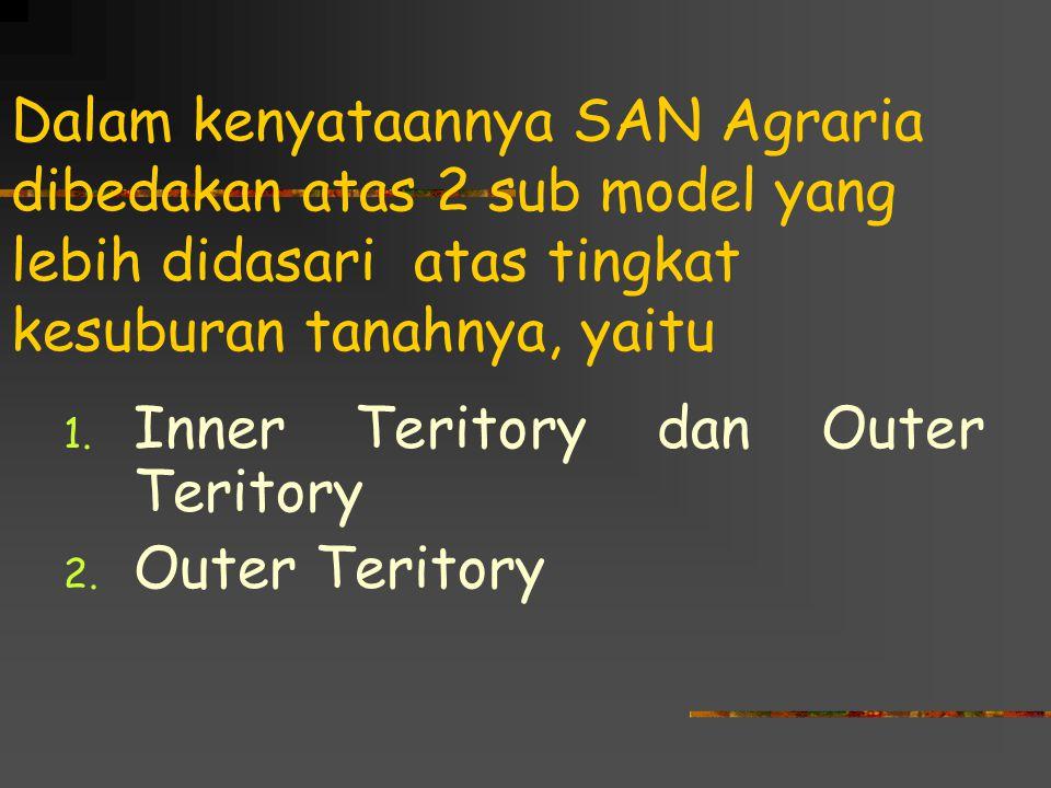 Dalam kenyataannya SAN Agraria dibedakan atas 2 sub model yang lebih didasari atas tingkat kesuburan tanahnya, yaitu 1. Inner Teritory dan Outer Terit