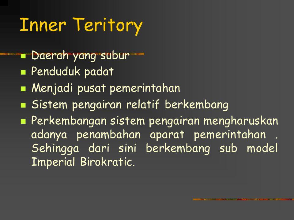 Inner Teritory Daerah yang subur Penduduk padat Menjadi pusat pemerintahan Sistem pengairan relatif berkembang Perkembangan sistem pengairan mengharus