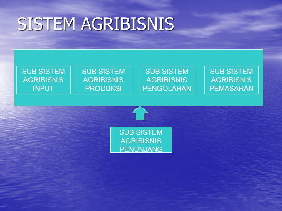 Produksi Agribisnis  Seperangkat prosedur dan kegiatan yang terjadi dalam penciptaan produk agribisnis berupa produk : usaha pertanian perikananpeternakankehutanan hasil olahan produk tersebut
