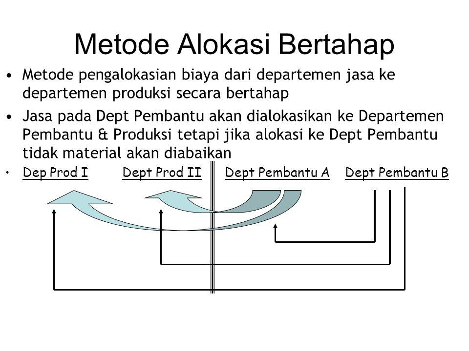 Metode Alokasi Bertahap Metode pengalokasian biaya dari departemen jasa ke departemen produksi secara bertahap Jasa pada Dept Pembantu akan dialokasikan ke Departemen Pembantu & Produksi tetapi jika alokasi ke Dept Pembantu tidak material akan diabaikan Dep Prod I Dept Prod II Dept Pembantu A Dept Pembantu B