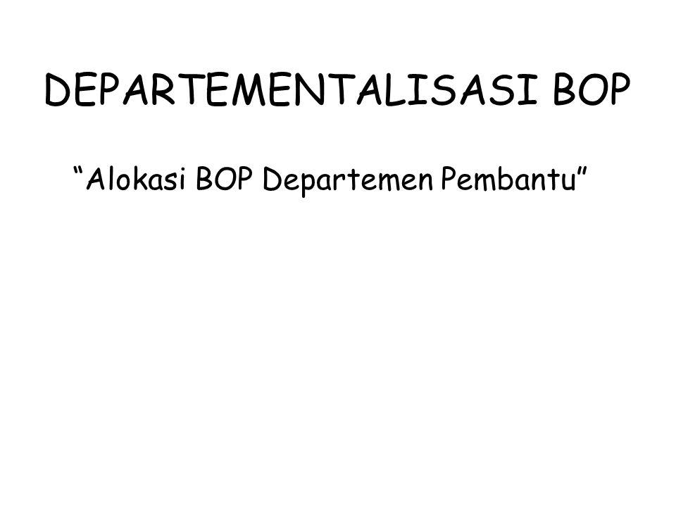 Sub Bab Pembahasan Pengertian Departementalisasi BOP Tujuan Departementalisasi BOP Langkah Penentuan & Penggunaan Departemenisasi Tarif BOP Biaya Dalam BOP Dasar Pembebanan BOP Perhitungan Tarif BOP Metode Pengalokasian BOP