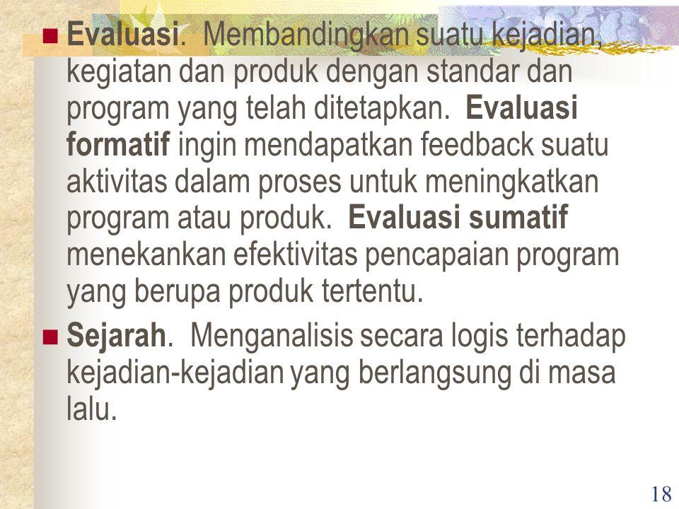 18 Evaluasi. Membandingkan suatu kejadian, kegiatan dan produk dengan standar dan program yang telah ditetapkan. Evaluasi formatif ingin mendapatkan f