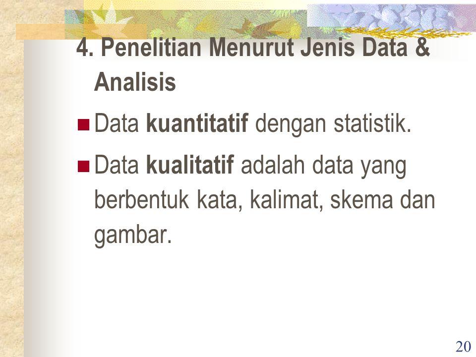 20 4. Penelitian Menurut Jenis Data & Analisis Data kuantitatif dengan statistik. Data kualitatif adalah data yang berbentuk kata, kalimat, skema dan