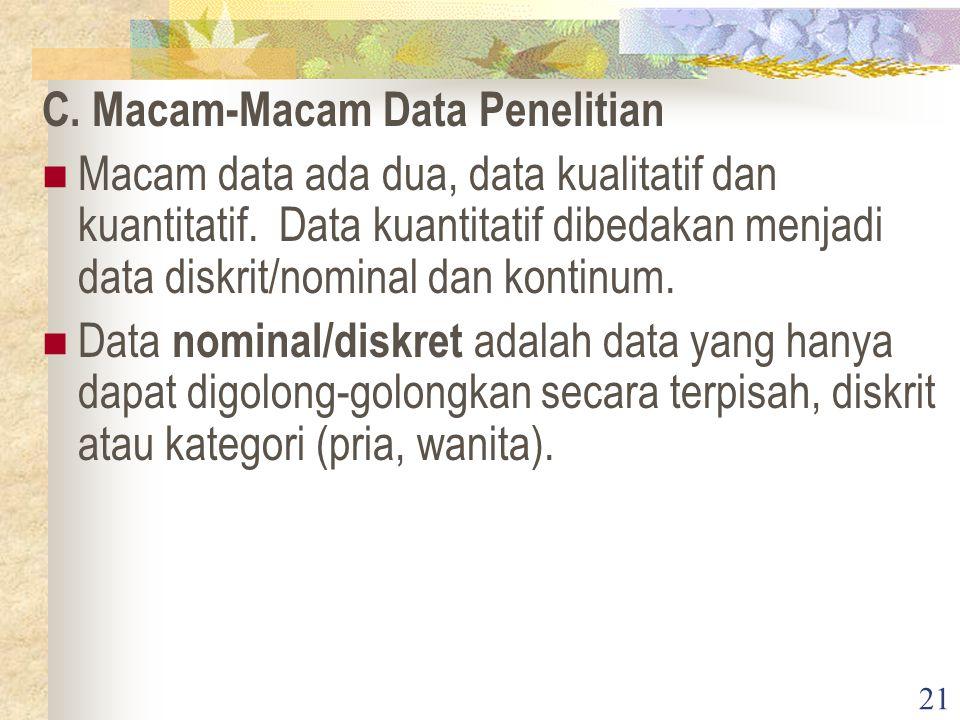21 C. Macam-Macam Data Penelitian Macam data ada dua, data kualitatif dan kuantitatif. Data kuantitatif dibedakan menjadi data diskrit/nominal dan kon