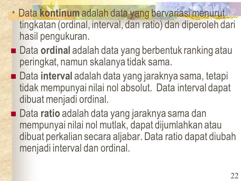 22 * Data kontinum adalah data yang bervariasi menurut tingkatan (ordinal, interval, dan ratio) dan diperoleh dari hasil pengukuran.