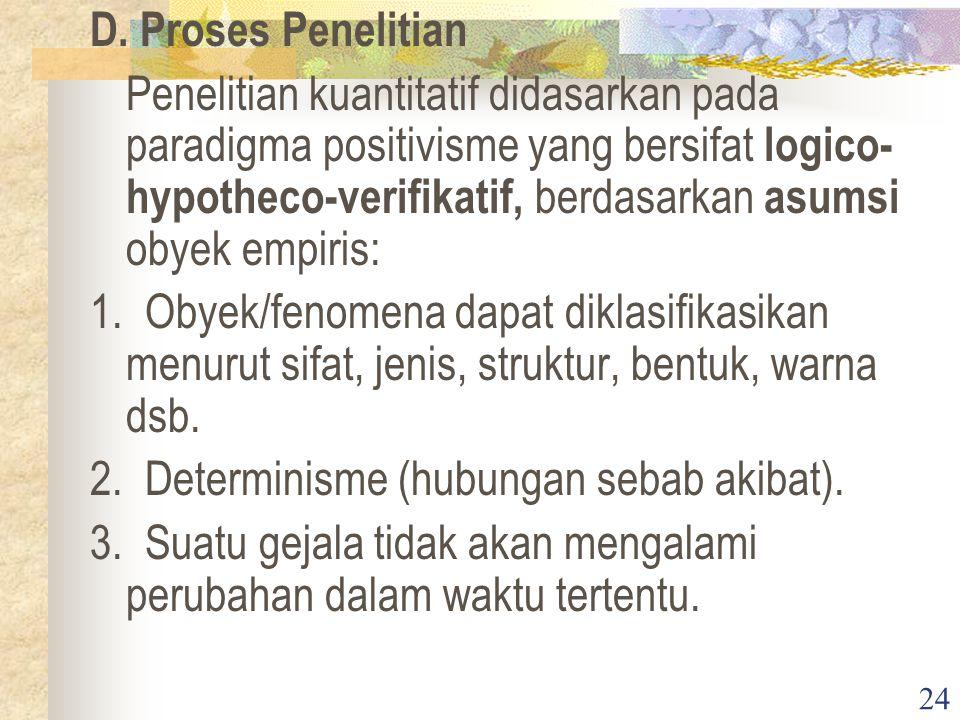 24 D. Proses Penelitian Penelitian kuantitatif didasarkan pada paradigma positivisme yang bersifat logico- hypotheco-verifikatif, berdasarkan asumsi o