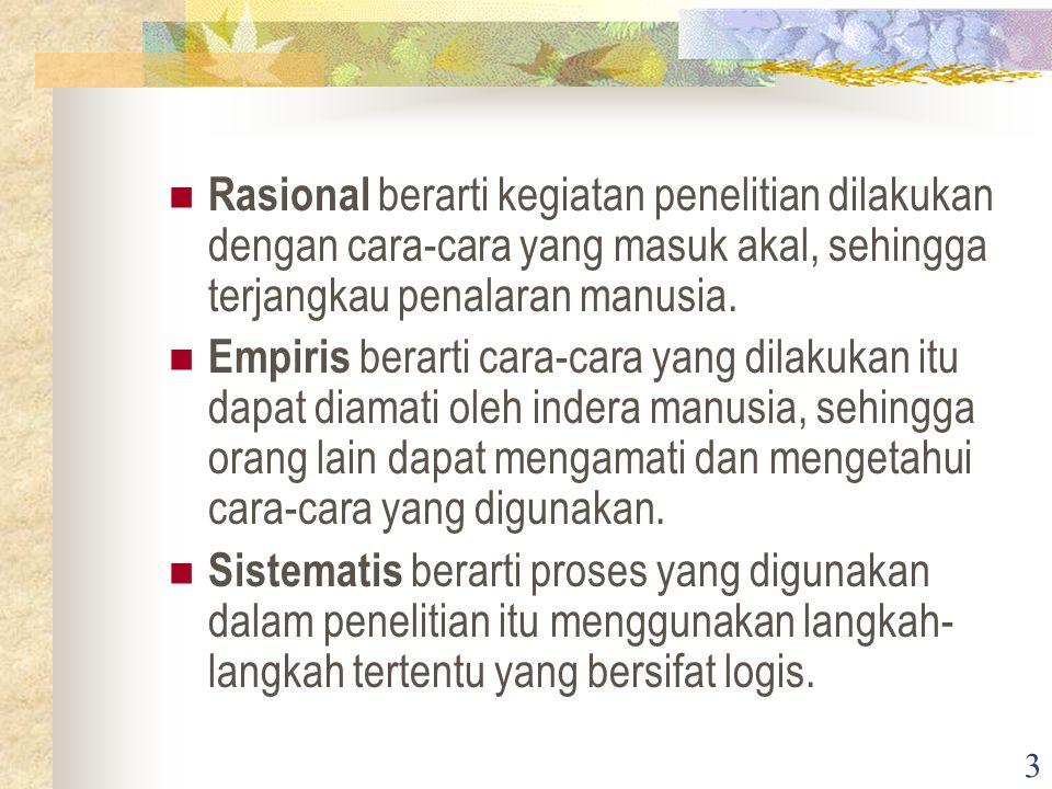 3 Rasional berarti kegiatan penelitian dilakukan dengan cara-cara yang masuk akal, sehingga terjangkau penalaran manusia.