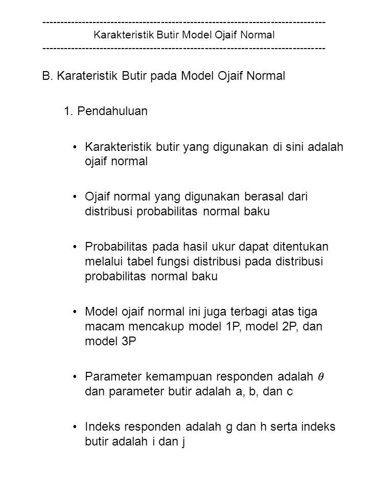 ------------------------------------------------------------------------------ Karakteristik Butir Model Ojaif Normal ------------------------------------------------------------------------------ B.