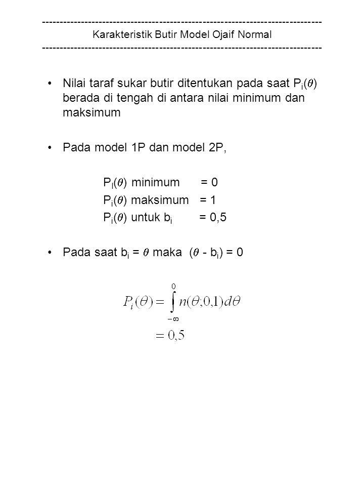 ------------------------------------------------------------------------------ Karakteristik Butir Model Ojaif Normal ------------------------------------------------------------------------------ Nilai taraf sukar butir ditentukan pada saat P i (  ) berada di tengah di antara nilai minimum dan maksimum Pada model 1P dan model 2P, P I (  ) minimum = 0 P i (  ) maksimum = 1 P i (  ) untuk b i = 0,5 Pada saat b i =  maka (  - b i ) = 0