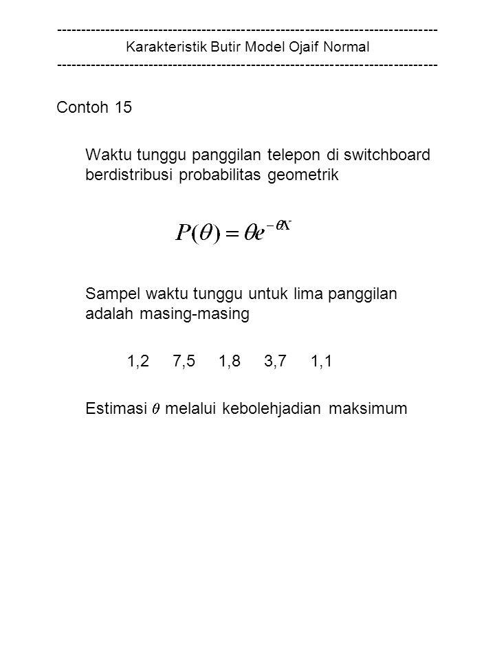 ------------------------------------------------------------------------------ Karakteristik Butir Model Ojaif Normal ------------------------------------------------------------------------------ Contoh 15 Waktu tunggu panggilan telepon di switchboard berdistribusi probabilitas geometrik Sampel waktu tunggu untuk lima panggilan adalah masing-masing 1,2 7,5 1,8 3,7 1,1 Estimasi  melalui kebolehjadian maksimum