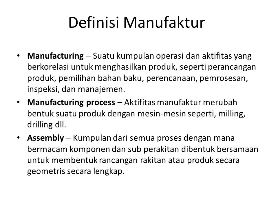 Manufacturing System Characterized by: – Number of machines – Number of part types – Part routes through the system – Processing times – Machine setups – Demand patterns – Raw material/component availability – Equipment layout/configuration – Operator availability Machines Raw Material Finished Products