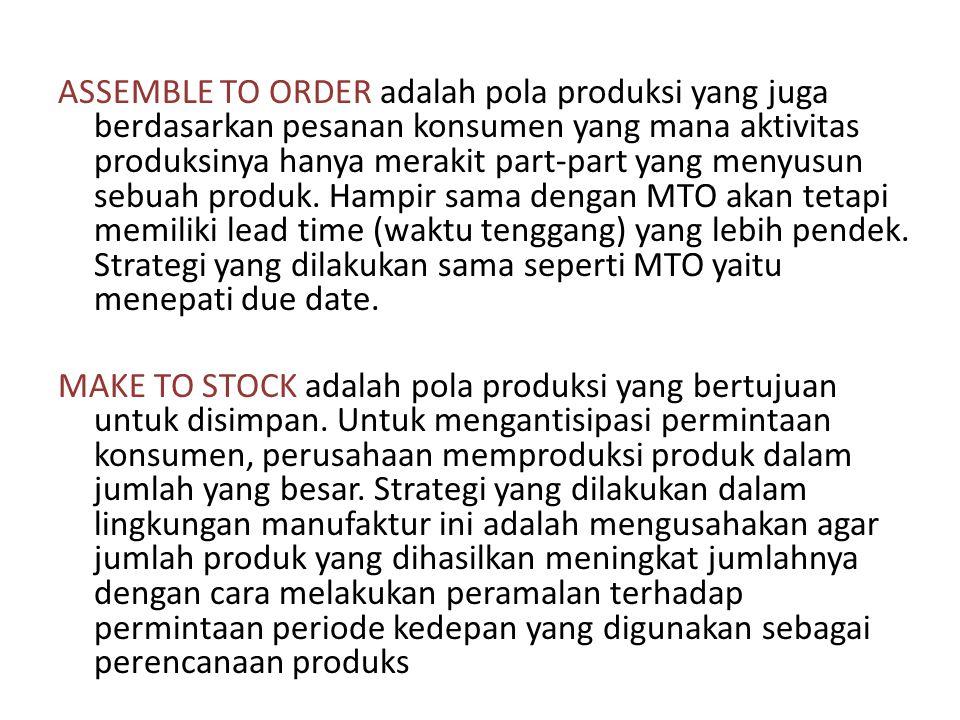 ASSEMBLE TO ORDER adalah pola produksi yang juga berdasarkan pesanan konsumen yang mana aktivitas produksinya hanya merakit part-part yang menyusun se