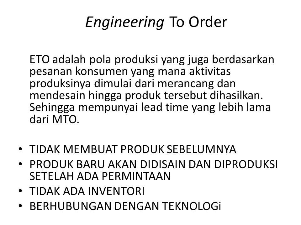Engineering To Order ETO adalah pola produksi yang juga berdasarkan pesanan konsumen yang mana aktivitas produksinya dimulai dari merancang dan mendes