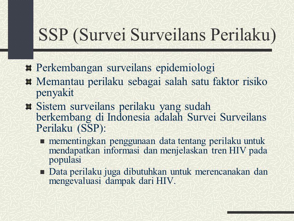 SSP (Survei Surveilans Perilaku) Perkembangan surveilans epidemiologi Memantau perilaku sebagai salah satu faktor risiko penyakit Sistem surveilans pe