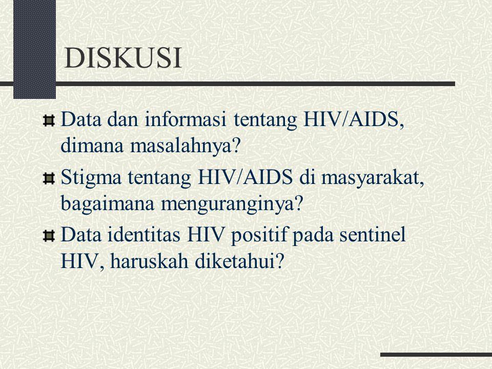 DISKUSI Data dan informasi tentang HIV/AIDS, dimana masalahnya? Stigma tentang HIV/AIDS di masyarakat, bagaimana menguranginya? Data identitas HIV pos