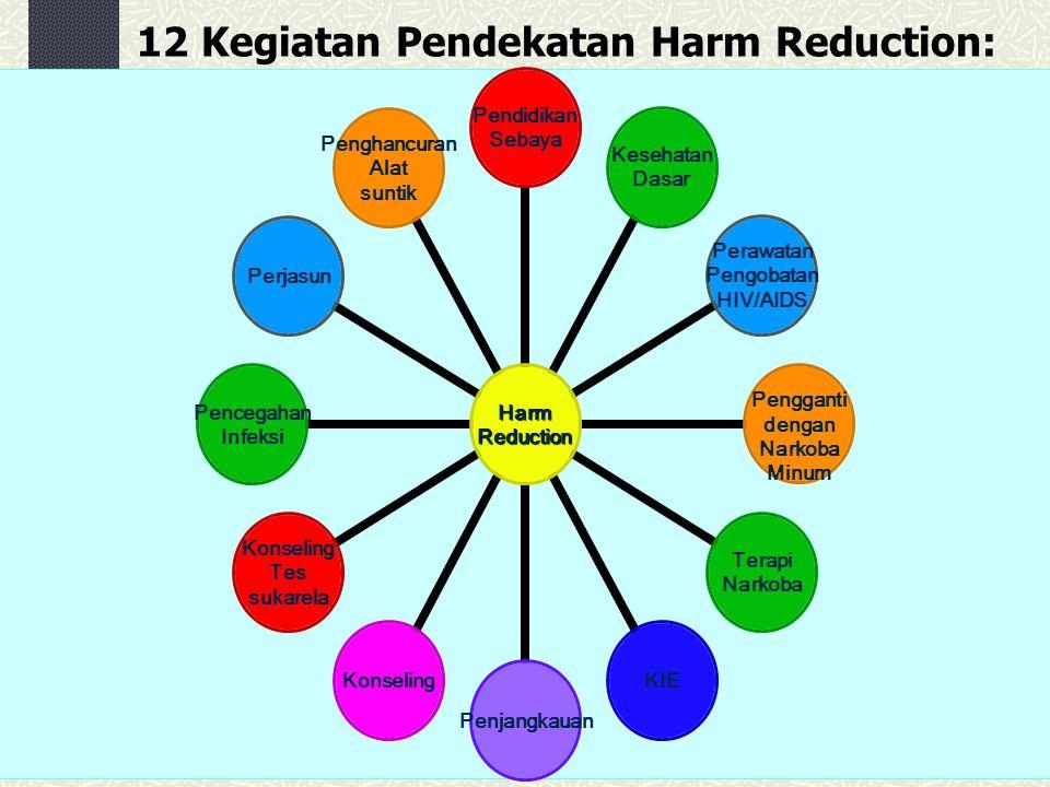12 Kegiatan Pendekatan Harm Reduction: HarmReduction Pendidikan Sebaya Kesehatan Dasar Perawatan Pengobatan HIV/AIDS Pengganti dengan Narkoba Minum Te