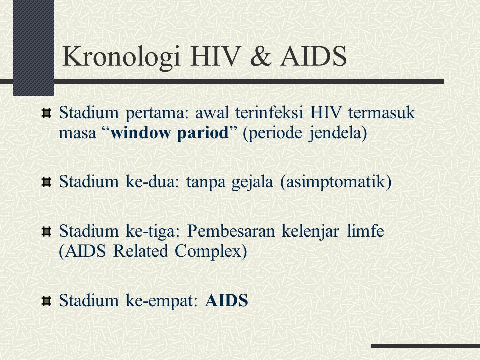 """Kronologi HIV & AIDS Stadium pertama: awal terinfeksi HIV termasuk masa """"window pariod"""" (periode jendela) Stadium ke-dua: tanpa gejala (asimptomatik)"""