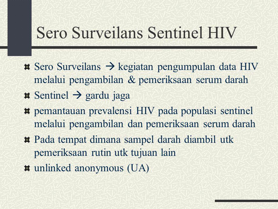 Sero Surveilans Sentinel HIV Sero Surveilans  kegiatan pengumpulan data HIV melalui pengambilan & pemeriksaan serum darah Sentinel  gardu jaga peman