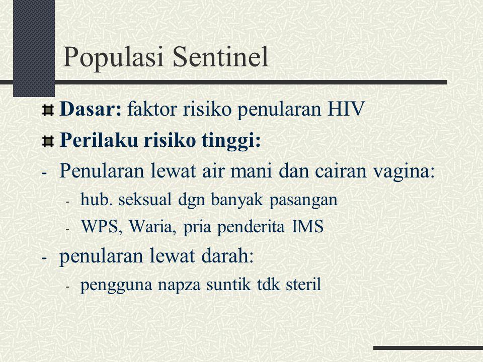 SSP (Survei Surveilans Perilaku) Perkembangan surveilans epidemiologi Memantau perilaku sebagai salah satu faktor risiko penyakit Sistem surveilans perilaku yang sudah berkembang di Indonesia adalah Survei Surveilans Perilaku (SSP): mementingkan penggunaan data tentang perilaku untuk mendapatkan informasi dan menjelaskan tren HIV pada populasi Data perilaku juga dibutuhkan untuk merencanakan dan mengevaluasi dampak dari HIV.