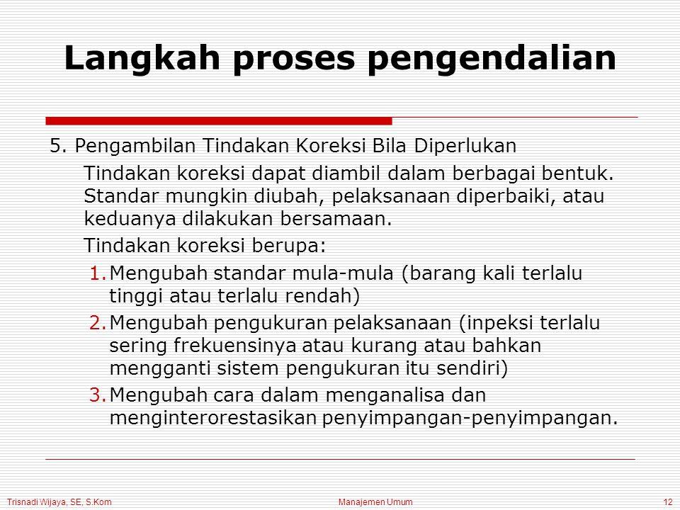 Trisnadi Wijaya, SE, S.Kom Manajemen Umum12 Langkah proses pengendalian 5.