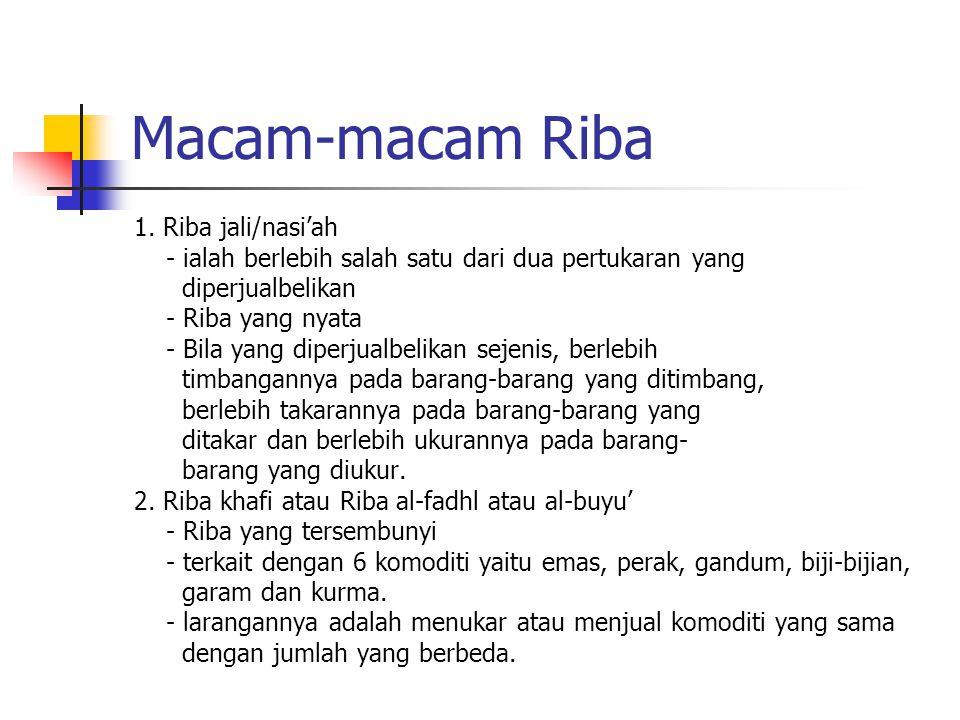 Pengertian Riba 1. Pengertian secara bahasa : a. الزيادة (bertambah) yaitu meminta tambahan dari sesuatu yang dihutangkan b. النام (berkembang/berbung
