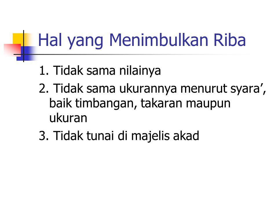 Enam Komoditi yang Menimbulkan Riba Dari Abu Sa'id Al-Khudri radhiyallahu 'anhu, bahwa Rasulullah Shallallahu 'alaihi wa sallam bersabda: الذَّهَبُ بِ