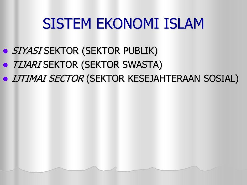 SISTEM EKONOMI ISLAM SIYASI SEKTOR (SEKTOR PUBLIK) SIYASI SEKTOR (SEKTOR PUBLIK) TIJARI SEKTOR (SEKTOR SWASTA) TIJARI SEKTOR (SEKTOR SWASTA) IJTIMAI S