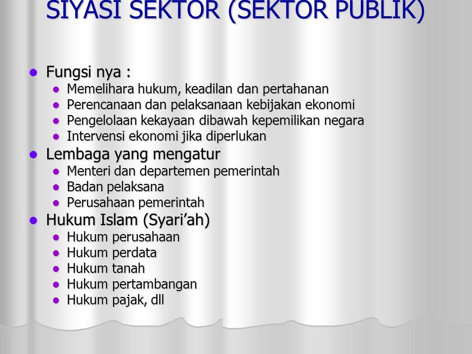 SIYASI SEKTOR (SEKTOR PUBLIK) Fungsi nya : Fungsi nya : Memelihara hukum, keadilan dan pertahanan Memelihara hukum, keadilan dan pertahanan Perencanaa