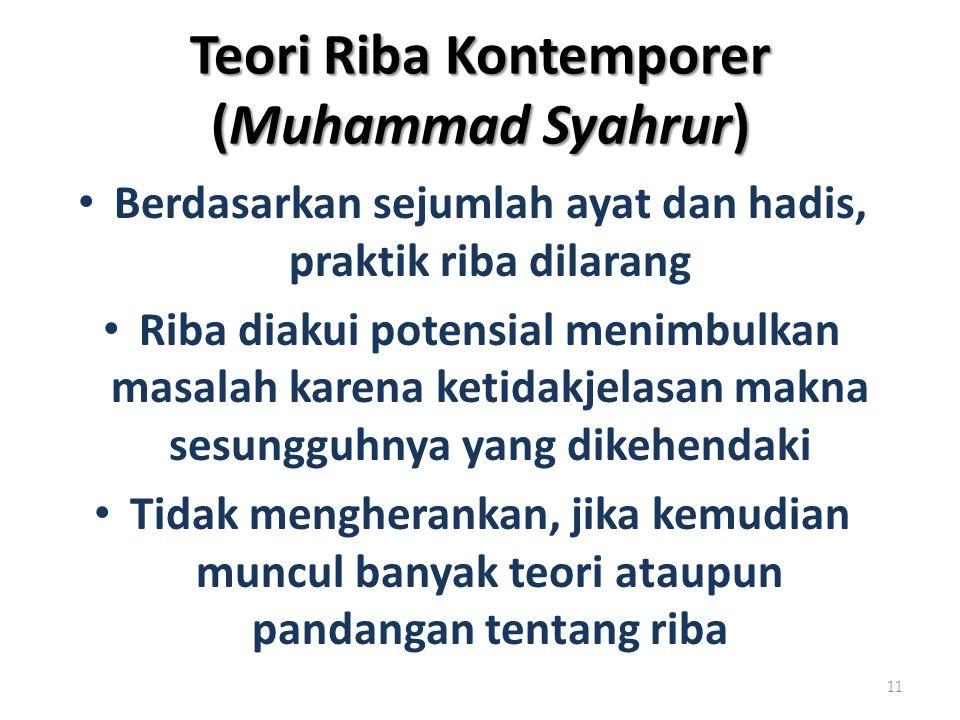 Teori Riba Kontemporer (Muhammad Syahrur) Berdasarkan sejumlah ayat dan hadis, praktik riba dilarang Riba diakui potensial menimbulkan masalah karena