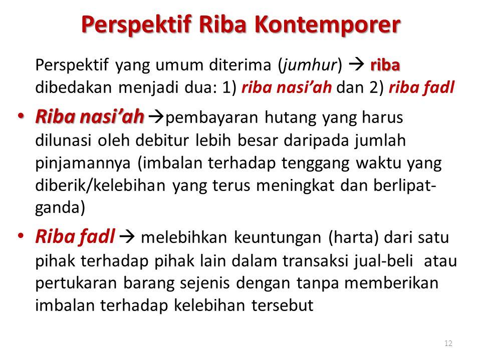 Perspektif Riba Kontemporer riba Perspektif yang umum diterima (jumhur)  riba dibedakan menjadi dua: 1) riba nasi'ah dan 2) riba fadl Riba nasi'ah Ri