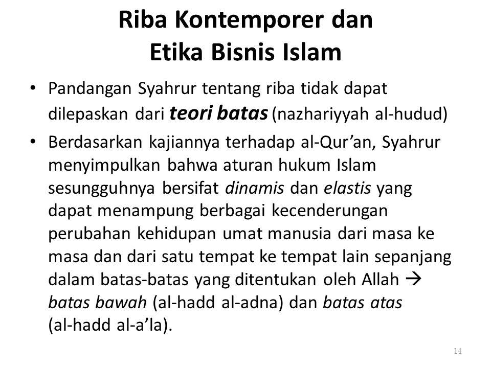 Riba Kontemporer dan Etika Bisnis Islam Pandangan Syahrur tentang riba tidak dapat dilepaskan dari teori batas (nazhariyyah al-hudud) Berdasarkan kaji