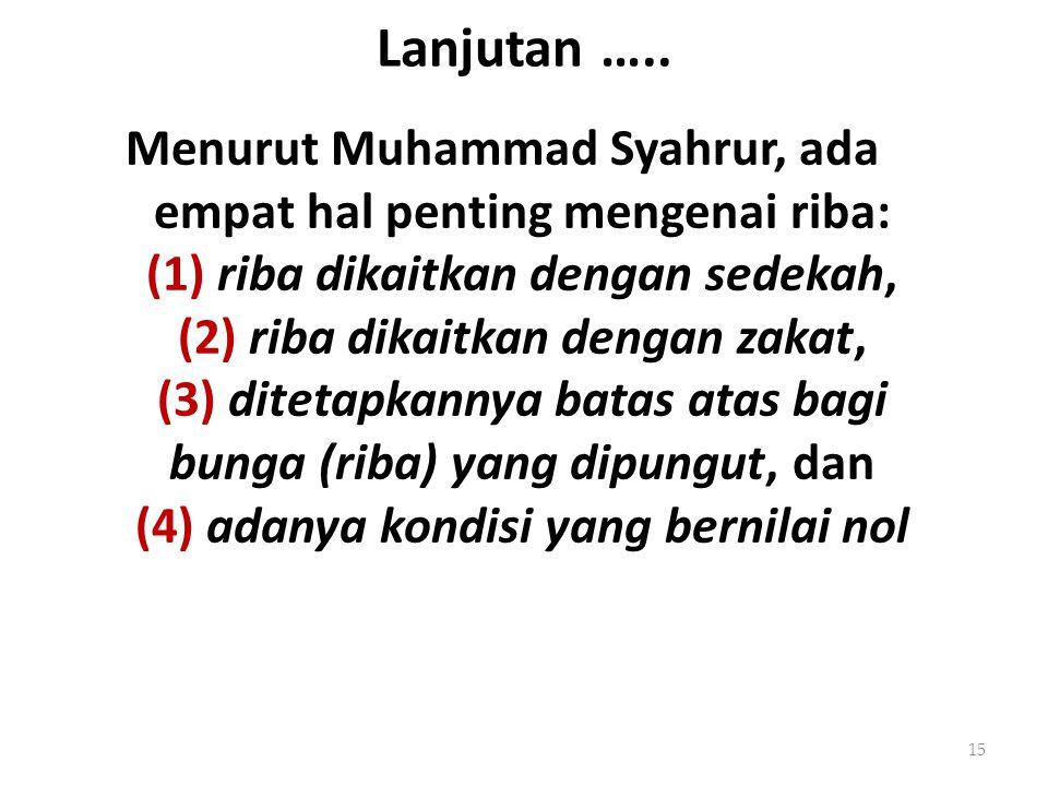 Lanjutan ….. Menurut Muhammad Syahrur, ada empat hal penting mengenai riba: (1) riba dikaitkan dengan sedekah, (2) riba dikaitkan dengan zakat, (3) di