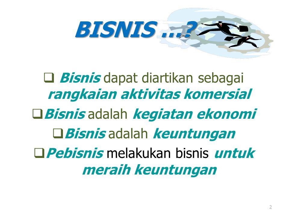 2  Bisnis dapat diartikan sebagai rangkaian aktivitas komersial  Bisnis adalah kegiatan ekonomi  Bisnis adalah keuntungan  Pebisnis melakukan bisn