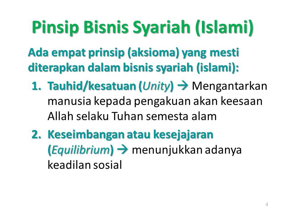 Pinsip Bisnis Syariah (Islami) Ada empat prinsip (aksioma) yang mesti diterapkan dalam bisnis syariah (islami): 1.Tauhid/kesatuan (Unity)  1.Tauhid/k