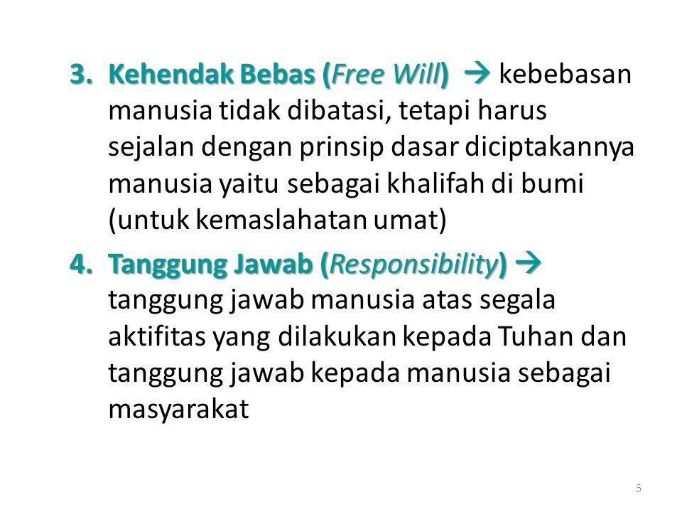 3.Kehendak Bebas (Free Will)  3.Kehendak Bebas (Free Will)  kebebasan manusia tidak dibatasi, tetapi harus sejalan dengan prinsip dasar diciptakanny