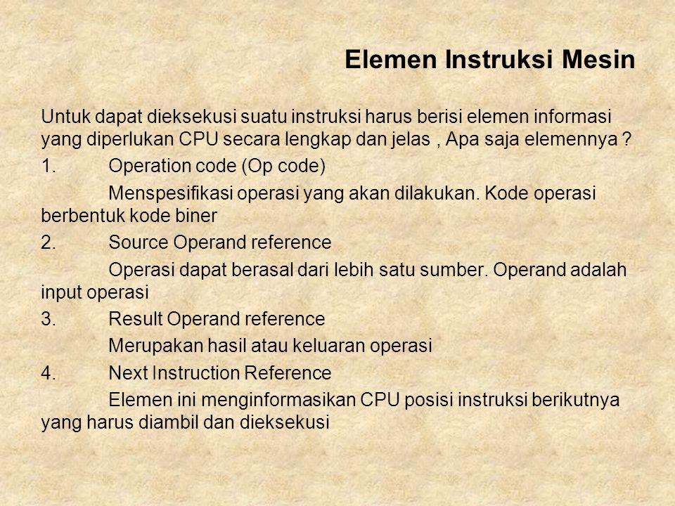 Untuk dapat dieksekusi suatu instruksi harus berisi elemen informasi yang diperlukan CPU secara lengkap dan jelas, Apa saja elemennya ? 1. Operation c