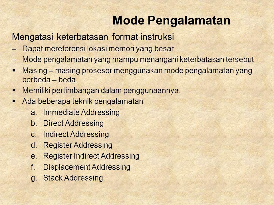 Mengatasi keterbatasan format instruksi –Dapat mereferensi lokasi memori yang besar –Mode pengalamatan yang mampu menangani keterbatasan tersebut  Ma