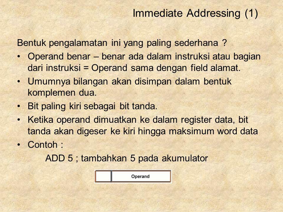 Bentuk pengalamatan ini yang paling sederhana ? Operand benar – benar ada dalam instruksi atau bagian dari instruksi = Operand sama dengan field alama