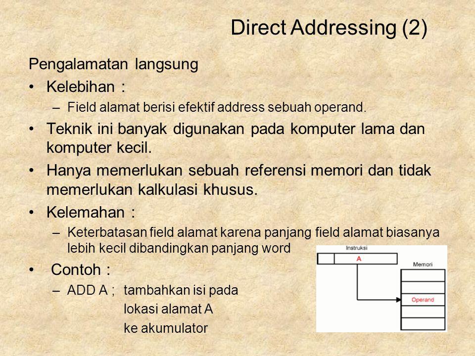 Pengalamatan langsung Kelebihan : –Field alamat berisi efektif address sebuah operand. Teknik ini banyak digunakan pada komputer lama dan komputer kec